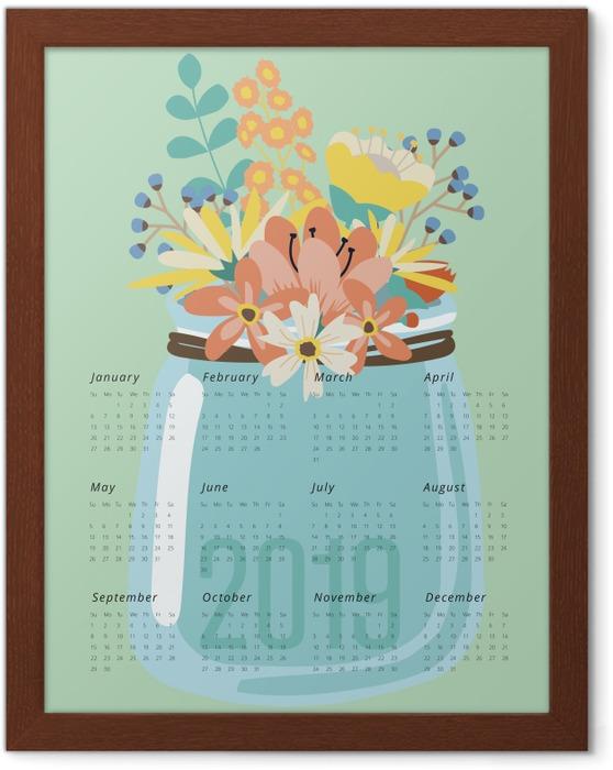 Poster en cadre Calendrier 2019 - fleurs -