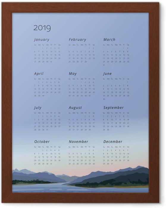 Poster en cadre Calendrier 2019 - garder le calme -