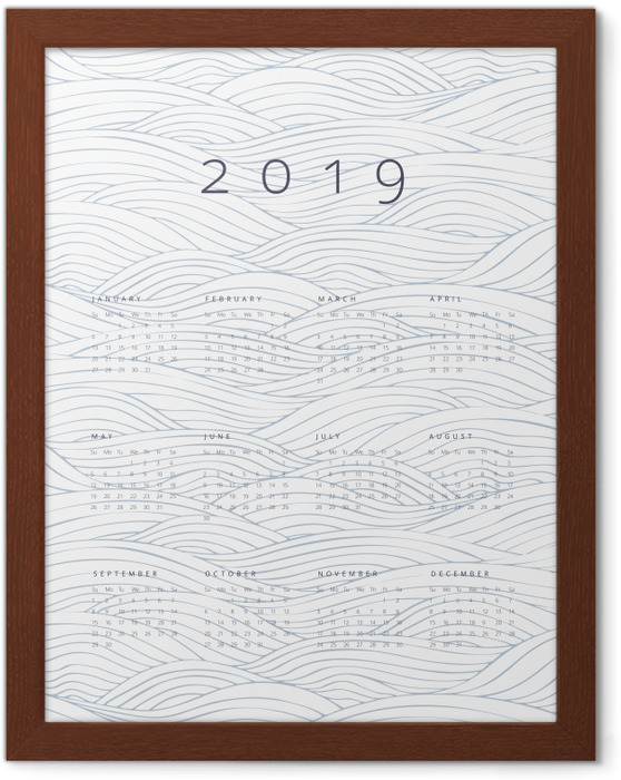 Calendario 2019 - olas Kehystetty juliste -
