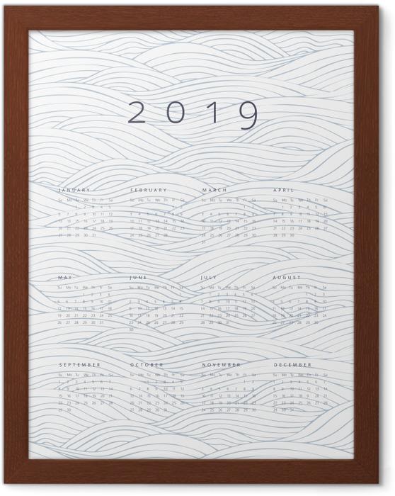 Póster com Moldura Calendário 2019 - ondas -