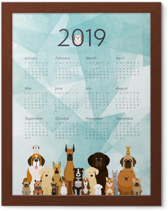 Póster Enmarcado Calendario 2019 – Perros -
