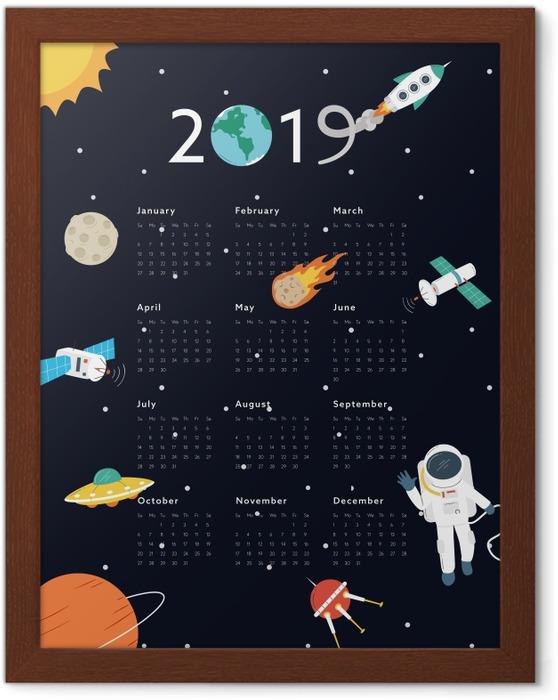 Plakat w ramie Kalendarz 2019 – Kosmos - Kalendarze 2018