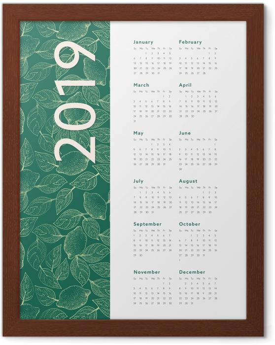 Póster Enmarcado Calendario 2019 – Hojas -