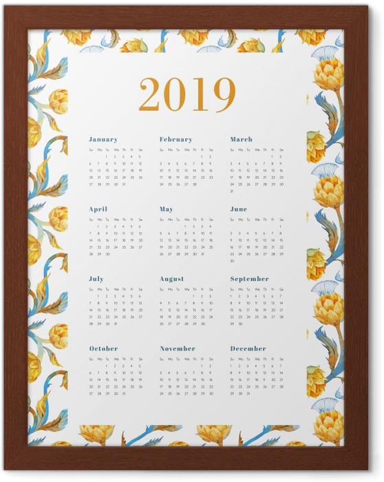 Poster in Cornice Calendario 2019 - Fiori gialli -