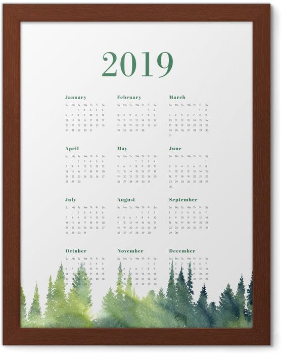 Poster en cadre Calendrier 2019 – Forêt -