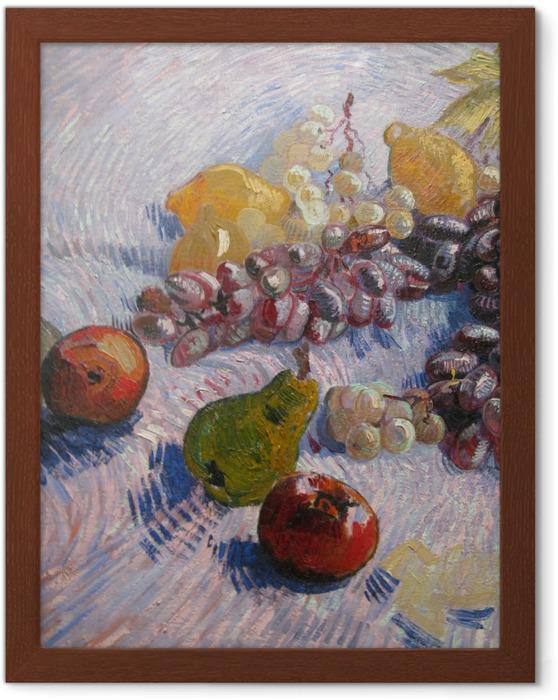 Poster en cadre Vincent van Gogh - Nature morte avec raisins, pommes, poires et citrons - Reproductions