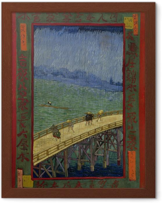 Ingelijste Poster Vincent van Gogh - Brug in de regen - Reproductions
