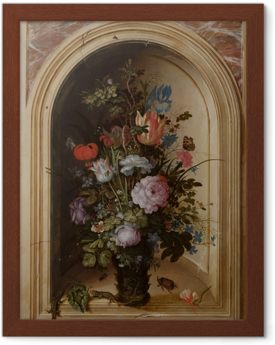 Ingelijste Poster Roelant Savery - Vase with Flowers in a Stone Niche - Reproducties