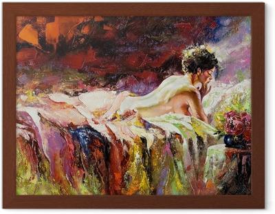 Ingelijste Poster De naakte meisje tot op een bed