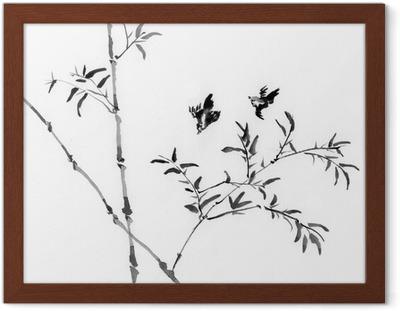 Bambu Ve Dağlar Geleneksel Japon Mürekkep Boyama Sumi E çift