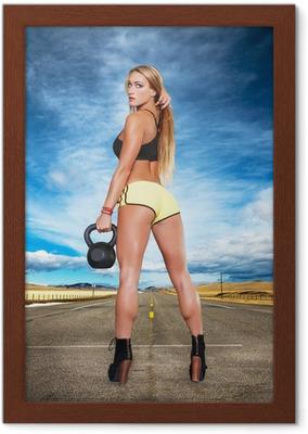be0f0608b992 Cuadro en Lienzo Sexy mujer deportiva rubia en mallas verdes • Pixers® - Vivimos  para cambiar
