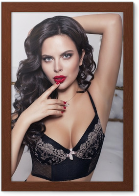 273d5e9f1 sexy beautiful woman with black hair in lingerie Canvas Print • Pixers® •  We live to change