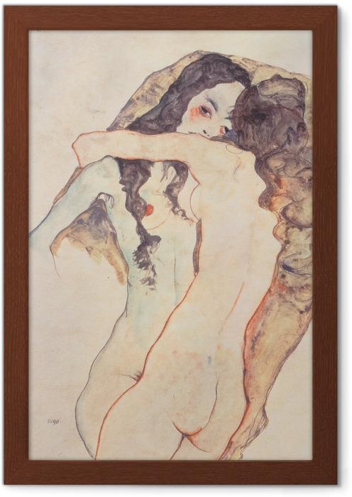 Poster en cadre Egon Schiele - Deux femmes s'embrassant - Reproductions