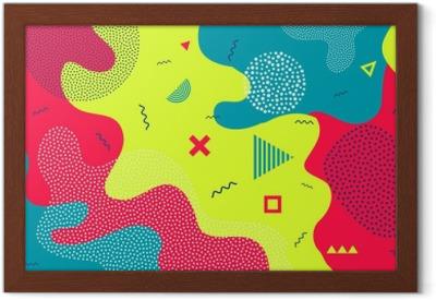 27f05af6865 Kreativ vektor illustration af børn tegneserie farve splash baggrund. kunst  design trendy 80s-90s memphis stil. geometrisk linieform mønster. abstrakt  ...