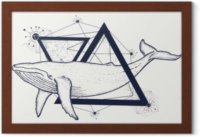 Obraz na plátně Kreativní geometrické velryba tetování umění tričko tisk  výtisk plakát textil. velrybí tetování geometrický styl. mystický symbol ... b6180cf0b3