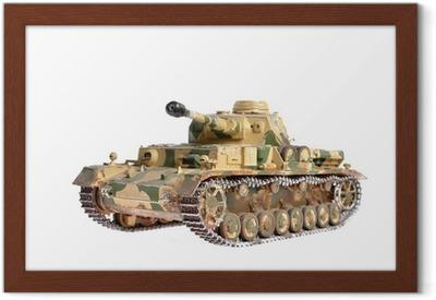 Gerahmtes Poster Modell eines Deutsch-Tank aus dem Zweiten Weltkrieg