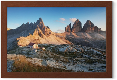 Dolomites mountain panorama in Italy at sunset - Tre Cime Framed Poster