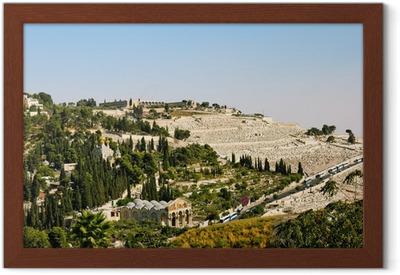 Poster i Ram Getsemane, och kyrkan alla nationer i Jerusalem