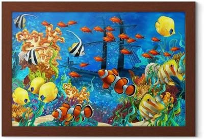 Poster en cadre Le récif de corail - illustration pour les enfants