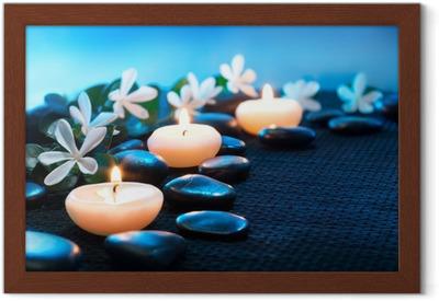 Poster en cadre Des bougies et des pierres noires sur noir mat - Destin