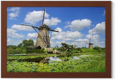 Poster i Ram Pittoreska landskap med väderkvarnar. Kinderdijk