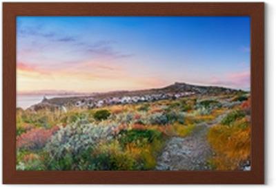 Gerahmtes Poster Sonnenuntergang auf der Mittelmeervegetation