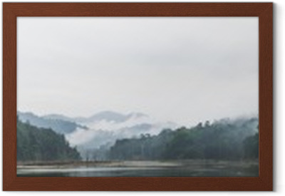 Panorama view of morning fog and dead trees in dense tropical rainforest, Perak, Malaysia Framed Poster