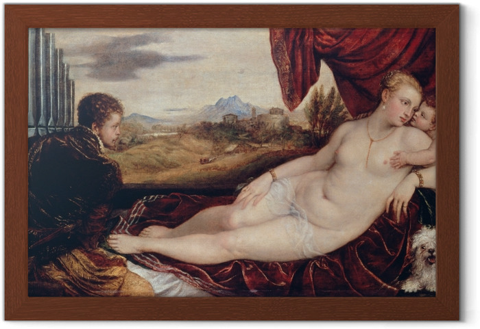 Plakat w ramie Tycjan - Wenus i organista - Reprodukcje