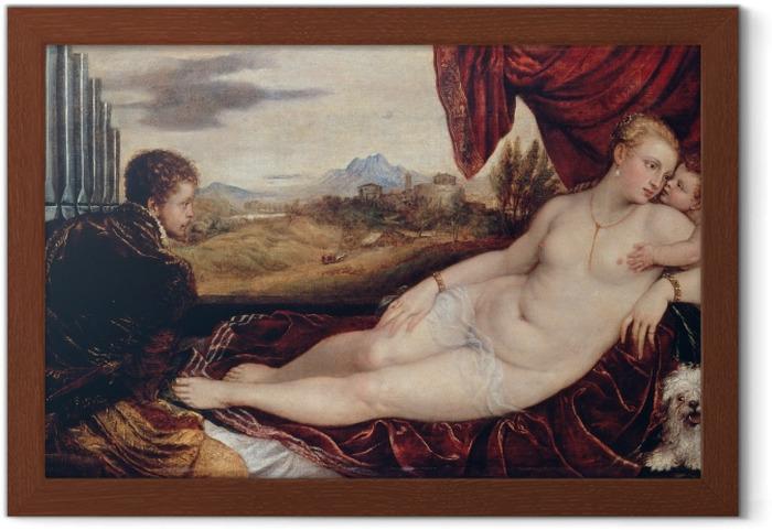 Póster Enmarcado Tiziano - Venus y el organista - Reproducciones