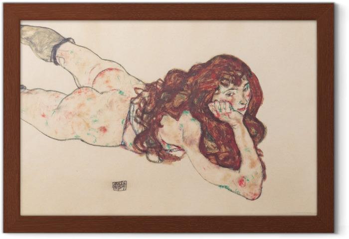 Plakat w ramie Egon Schiele - Leżąca kobieta - Reprodukcje