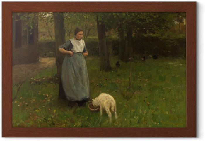 Poster en cadre Anton Mauve - Femme de Laren avec Agneau - Reproductions