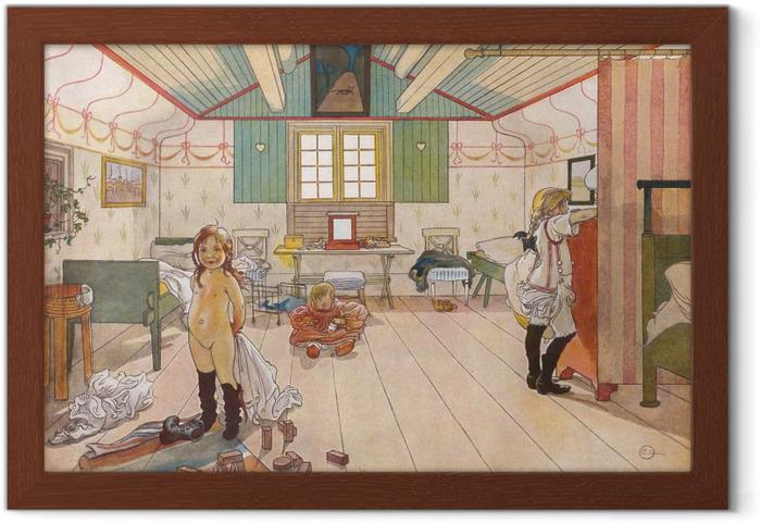 Plakat w ramie Carl Larsson - Sypialnia mamy i dziewczynek - Reproductions