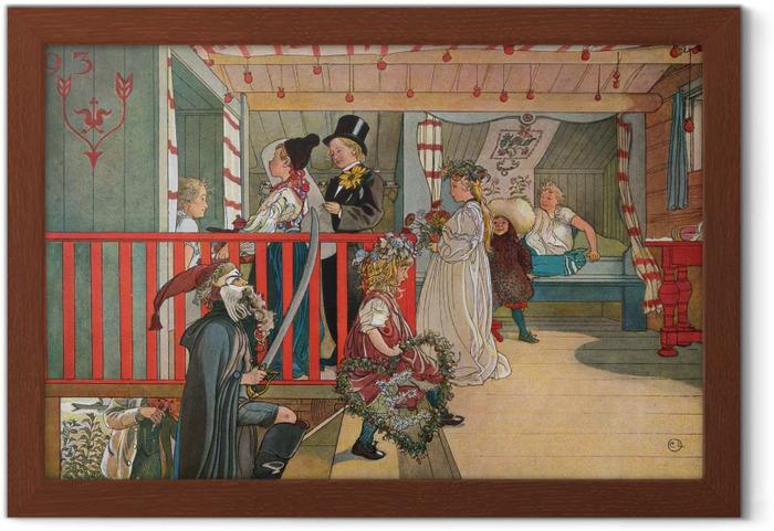 Póster Enmarcado Carl Larsson - Onomástica en el almacén - Reproductions