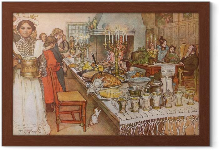 Plakat w ramie Carl Larsson - Wieczór wigilijny - Reproductions