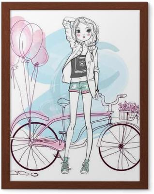 Ingelijste Poster Cute Girl Summer