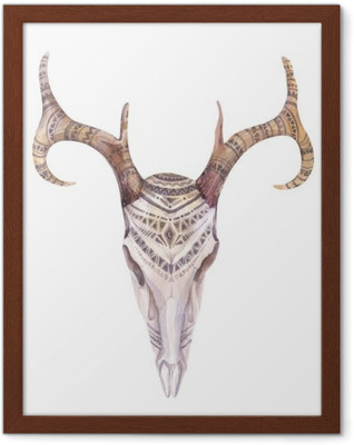 Watercolor skull with flowers , arrows and feathers. Boho triba Framed Poster