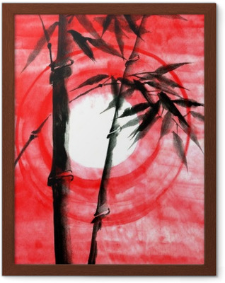 Poster en cadre Encre Aquarelle Japanise bambou sur le coucher du soleil