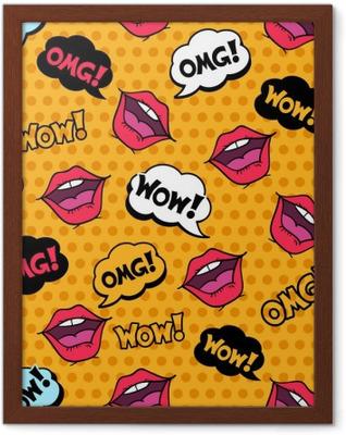 Ingelijste Poster Wauw! Naadloos patroon in pop art komische stijl met tekstballonnen
