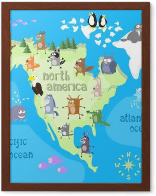 Concept design map of north american continent with animals drawing in funny cartoon style for kids and preschool education. Vector illustration Framed Poster