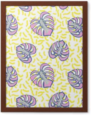 Poster en cadre Monstera plante tropique feuilles seamless pourpre et traits jaunes. motif de nature exotique pour tissu, papier peint ou l'habillement.