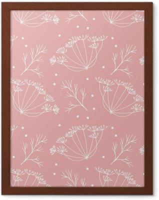 Plakat w ramie Koperek lub kopru kwiatów i liści wzorca.