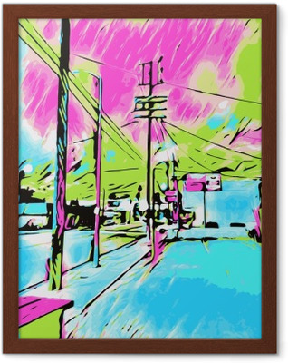 drawing and painting blue city with pink and green sky Framed Poster