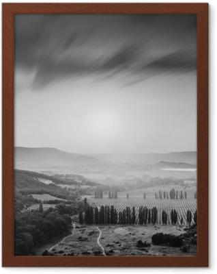 Kachinskaya valley. Black and white Framed Poster