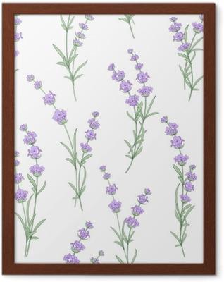 Ingelijste Poster Naadloze patroon van lavendel bloemen op een witte achtergrond. waterverfpatroon met lavendel voor stoffenmonster. naadloos patroon voor stof. vectorillustratie