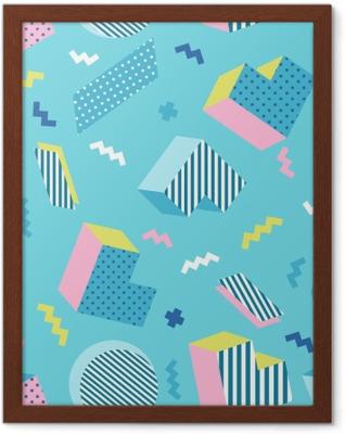 Poster in Cornice Modello di sfondo blu geometrico colorato vecchia scuola senza soluzione di continuità, stile di design memphis. illustrazione vettoriale