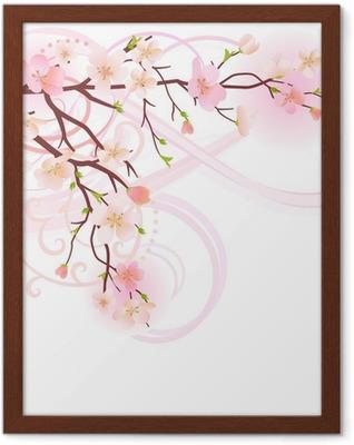 Póster Enmarcado Árbol floreciente elemento de diseño