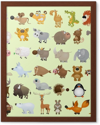 Big vector cartoon animal set Framed Poster