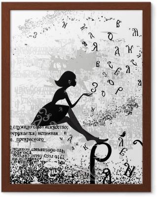 Ingelijste Poster Abstract ontwerp met een meisje grunge tekst