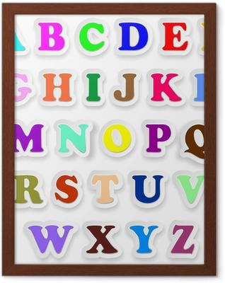 Plakat w ramie Litery alfabetu Wielkie wielkie litery naklejek Alphabet