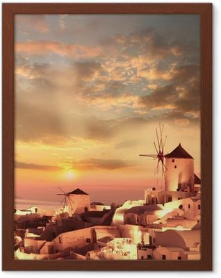 Poster i Ram Väderkvarnar i Santorini mot solnedgången, Grekland
